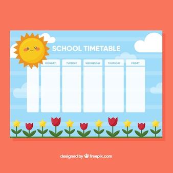 School timetable with flat flowers