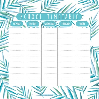 School timetable with foliage branches