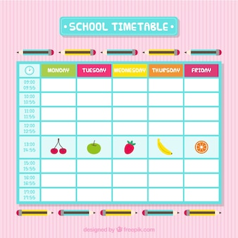 School timetable with fruits