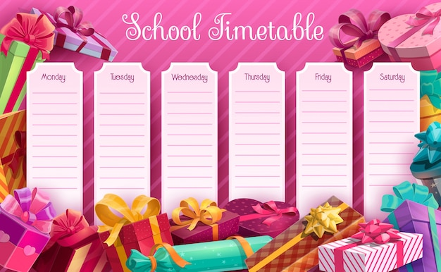 School timetable with gift boxes  template