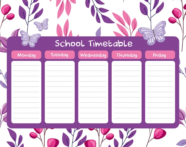 School timetable with leaves branches