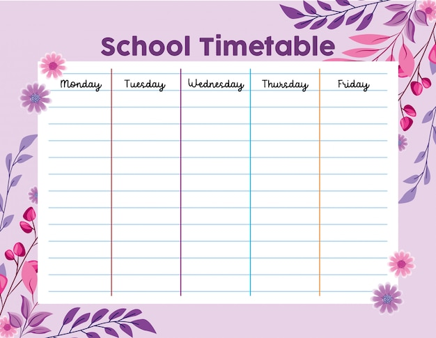 School timetable with leaves foliage