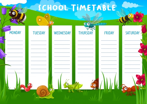 School timetable with meadow and insects