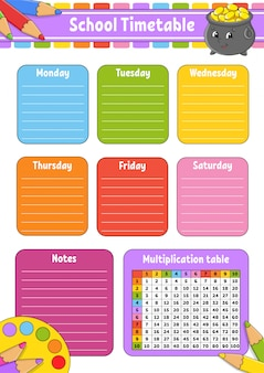 School timetable with multiplication table. for the education of children. isolated on a white background.