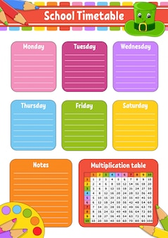 School timetable with multiplication table. for the education of children.
