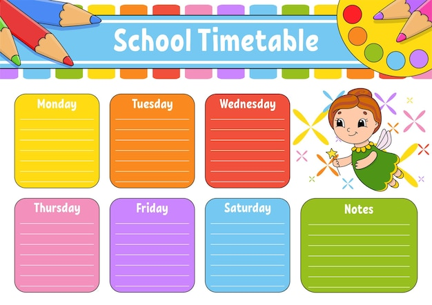 School timetable with multiplication table for the education of children
