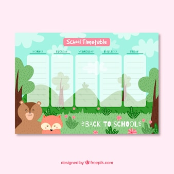 School timetable with nature concept