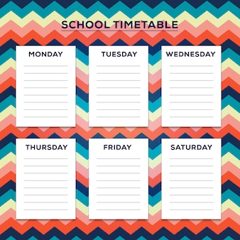 School timetable with nice zig zag pattern