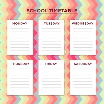 School timetable with pastel zig zag background