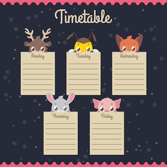School timetable with peeking animals