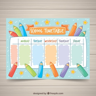 School timetable with pencils