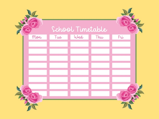 School timetable with pink roses