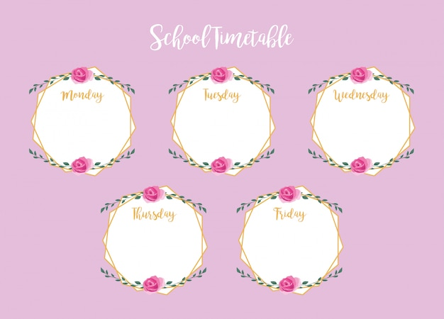 School timetable with roses and leaves