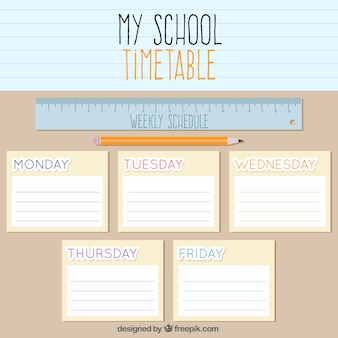 School timetable with a ruler and a pencil