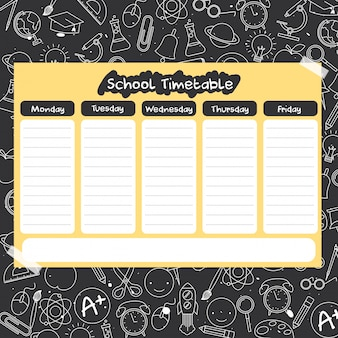 School timetable with school supplies drawing