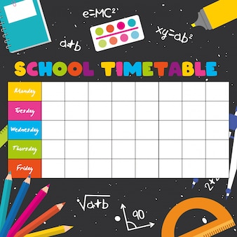 School timetable with school supplies