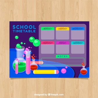School timetable with science elements