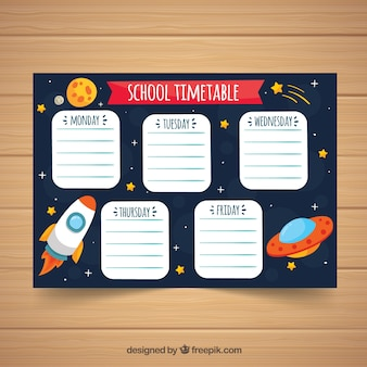 School timetable with space concept