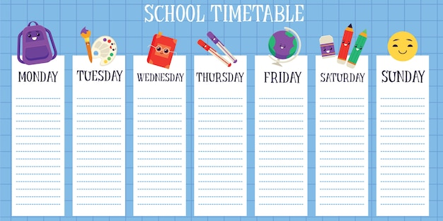 School timetable with space for notes flat vector illustration isolated.