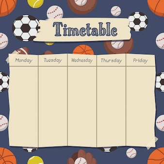 School timetable with sports