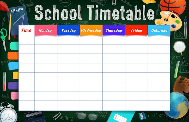 School timetable with stationery and chalkboard