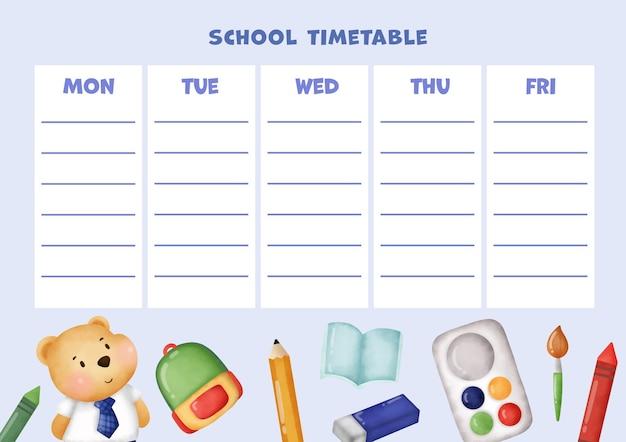 School timetable with teddy bear.