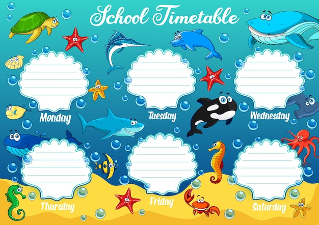 School timetable with underwater cartoon animals. educational schedule with funny turtle, starfish and shark, sea horse, whale and octopus. week time table template with ocean dolphin or marlin