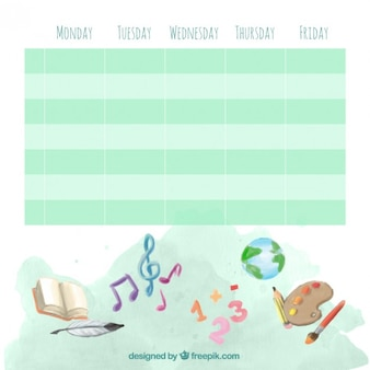 School timetable with watercolor drawings