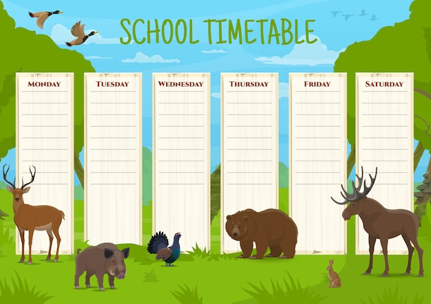 School timetable with wild animals, education  schedule with deer, boar and black grouse, bear and elk, hare and duck. daily lessons planner for children, educational time table cartoon template