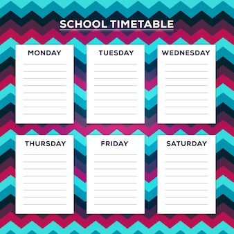 School timetable with zig zag pattern at background