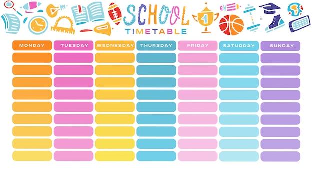 School timetable、毎週のカリキュラムデザインテンプレート、グラデーションの移行を伴うスケーラブルなベクターグラフィック。