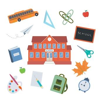Школьные инструменты векторные иллюстрации мультфильм плоские образовательные принадлежности или коллекция инструментов