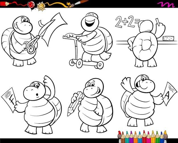 Школьная черепаха набор мультфильм раскраски страницу