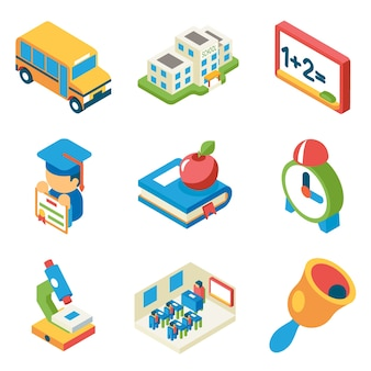 School, university and education isometric 3d flat icons. bus and building and microscope, diploma and bell, book and apple,