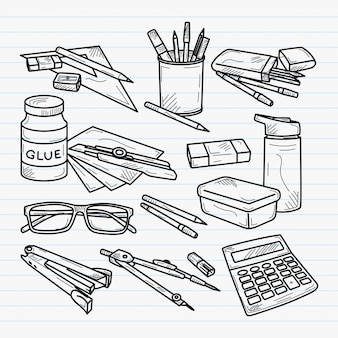 School utensils handdrawn illustration
