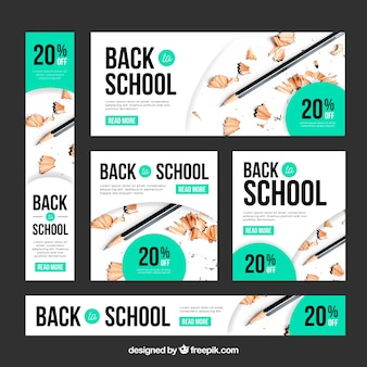 School web banner collection with photo