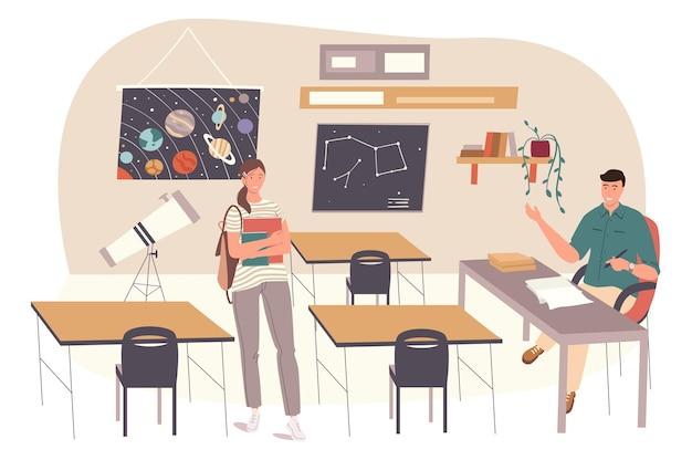 학교 웹 개념입니다. 학생은 교실에서 천문학을 배웁니다. 수업 시간에 수업을 가르치는 교사. 과학 및 교육