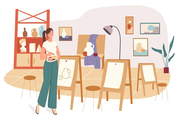 Концепция сети школы. рисунок женщины в художественной студии. студент изучает предмет на уроке в классе. профессиональное художественное образование