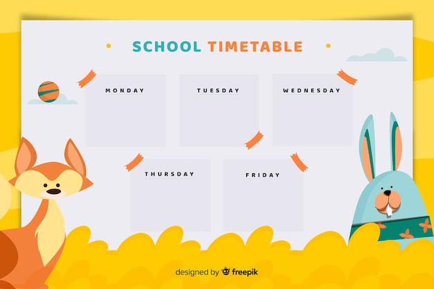 School weekly planner or timetable template with fox and bunny character