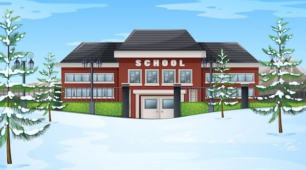 School in winter scene