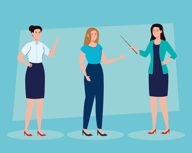 School women teachers cartoons design, education class lesson and knowledge theme