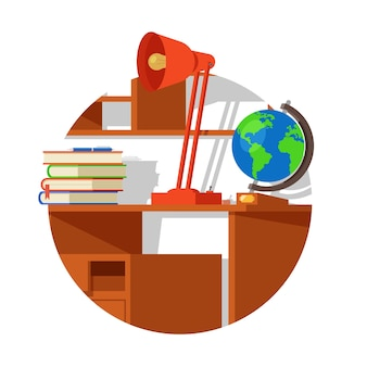 School wooden table with globe lamp books