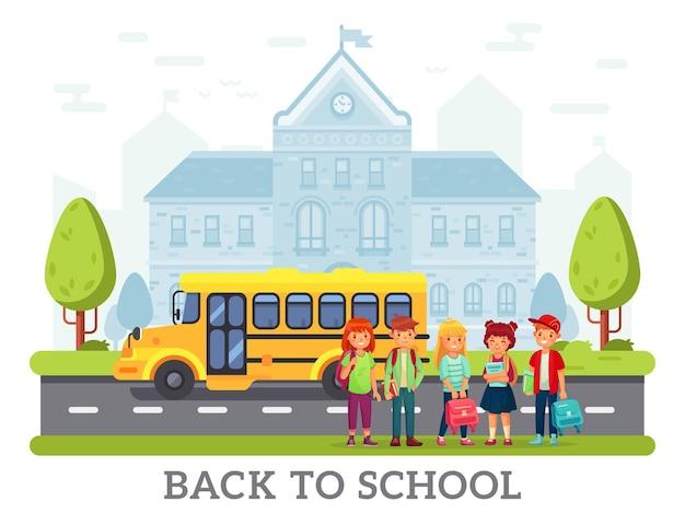 Школьный желтый автобус для детей, обратно в школу иллюстрации. дети или студенты с рюкзаком возле дороги.