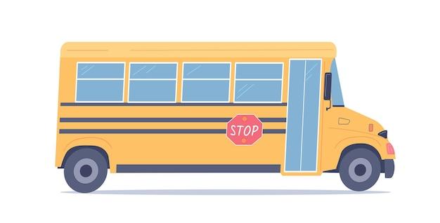 Школьный желтый автобус векторные иллюстрации белый изолированный объект