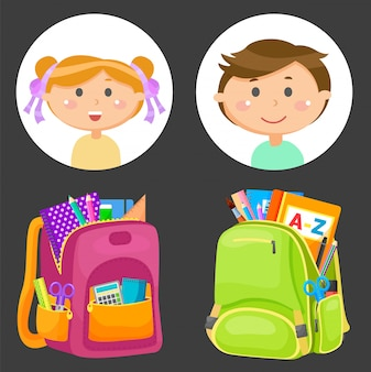 Schoolbags and school children avatars, stationery