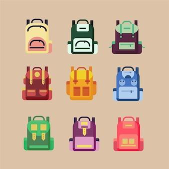Schoolbags 세트. 유치한 학교 백팩