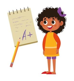 男子生徒の黒人の女の子は、ノートパソコンのベクトルフラットで試験レタリングの良い点を喜んでいます。テスト結果は良好です。コントロールと試験の楽しみの研究と評価