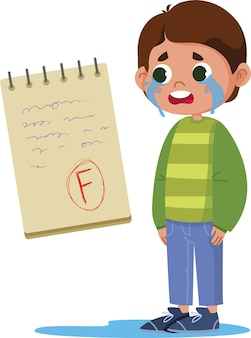 Schoolboy boy crying because of bad mark for exam, lettering on laptop vector flat. test result f. bright funny cute clipart illustrations. back to school. f