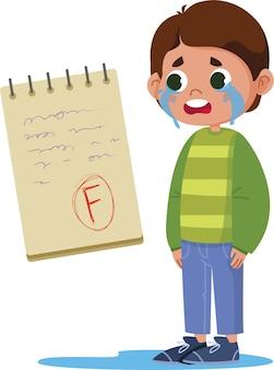 試験の悪い点のために泣いている男子生徒の男の子、ノートパソコンのベクトルフラットでレタリング。テスト結果f.明るく面白いかわいいクリップアートのイラスト。学校に戻る。 ns