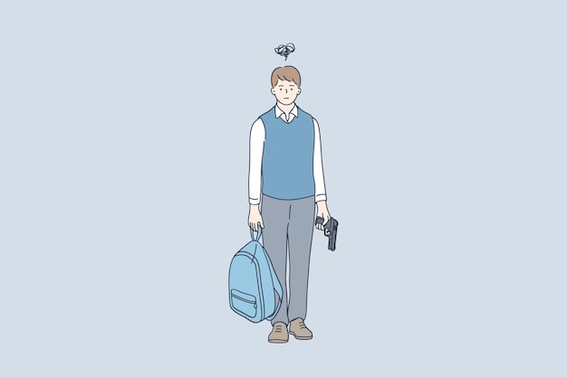 Schoolboy cartoon character standing and holding backpack